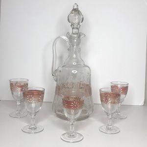 Vintage decanter & glass set